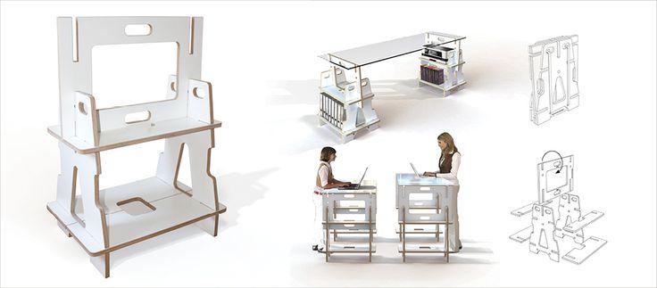 bockdrauf ist ein höhenverstellbares Steckbock Konzept für Schreibtisch oder Arbeitsplatten. Das insgesamt 16-teilige Set wird flach gebunden angeboten.  Weitere Farbvarianten sind in Planung. Material: Birke-Multiplex, 18mm, weiß beschichtet