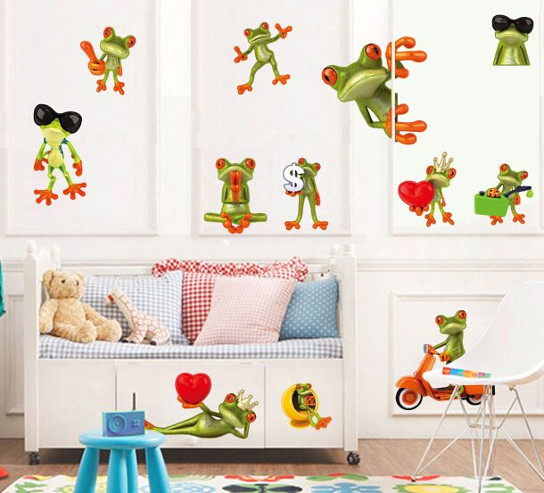 Spectacular Cartoon Big Eyes Frogs Car Keroppi Wall Sticker Home Decoration Wall Decals for Kids Room bedroom