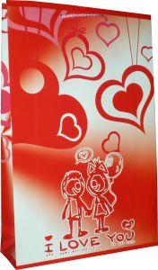 Упакуйте в этот пакет Ваш подарок ко дню Валентина! Размеры пакета: вертикаль 38 см, горизонталь 23 см, ширина дна 11 см. Бумага: мелованная матовая, плотность 200 грамм/м2. Дно пакета усилено, рекомендуемая нагрузка не более 1 кг. Ручка: синтетический шнурок, цвет светло-серый.