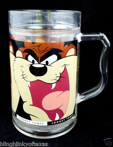 TAZ Tazmanian Devil Insulated Large Mug Looney Tune plastic liquid filled chill it! BlingBlinky.com