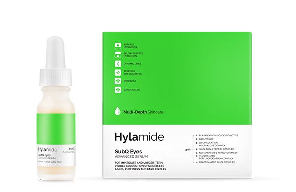 Firm, brighten, lift and smooth ageing skin around the eyes with the Hylamide SubQ Eyes Advanced Serum.