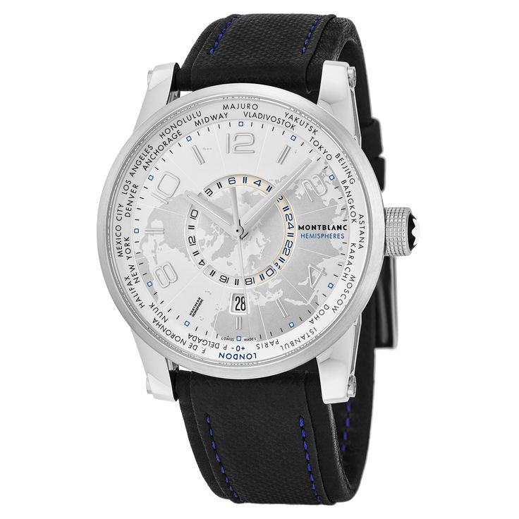 Mont Blanc Men's 108955 'Timewalker' Dial Black Strap World Time Hemispheres Swiss Automatic Watch