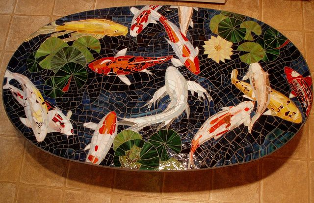 1000 images about stained glass koi patterns on pinterest for Koi fish pool table