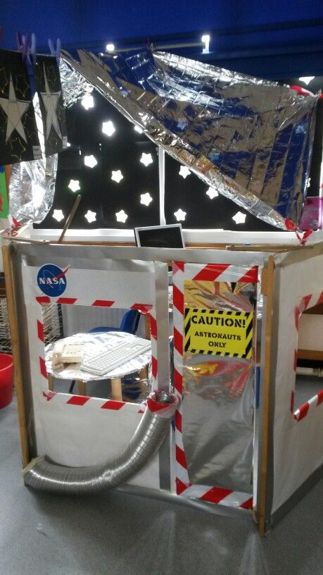Space station we created in our reception class...the stars on the windows are…