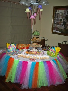 Tutu tablecloth! and diy ice cream cones!