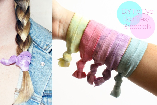 Tie dyed hair ties. White fold-over-elastic makes a cushy & stretchy hair tie you can also wear on your wrist for getting long hair out of the way while lookin' good. Love it.