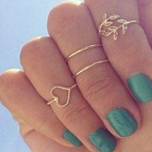 Autumn Leaf Love Mid Finger Ring Set