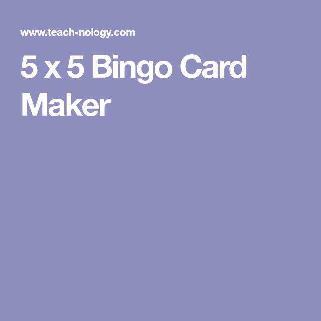 5 x 5 Bingo Card Maker