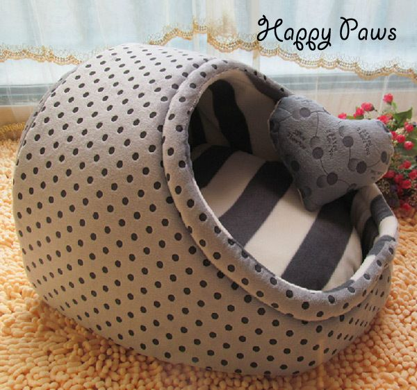 Cute polka dot warm indoor bed for small dogs cats totoro Pet detachable washable nest dog cat house Egg kennel