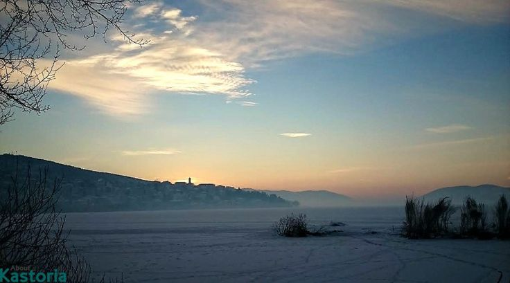 Magic icy dawn in the town of Kastoria, historical Macedonia Greece