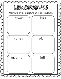 Landforms activity to better understand the forms. Using first grade geography strand under places and regions: places are distinctive because of their physical characteristics and human characteristics. I would use the landform poems (sciencepoems.net/index.html#landform)