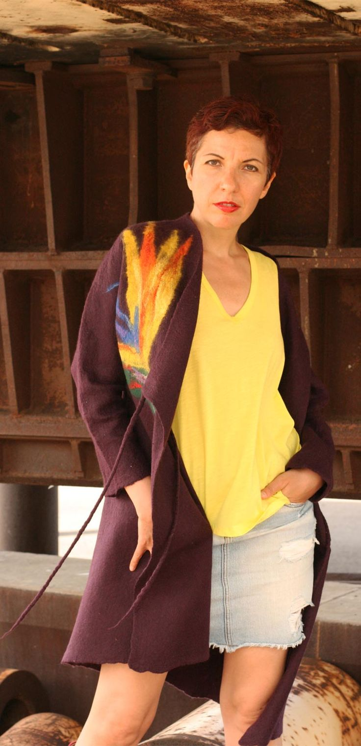 Buy fashion style summer coat by Vera Alexanderova. #fashion #womensfashion #women #style #coat #felted #felt #cozy #eco