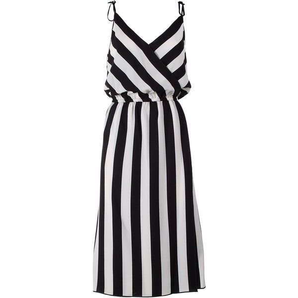 Marc Jacobs  Striped Crossover Crepe Dress found on Polyvore featuring dresses, nero, marc jacobs, v neck dress, v neck spaghetti strap dress, lining dress and crepe fabric dress