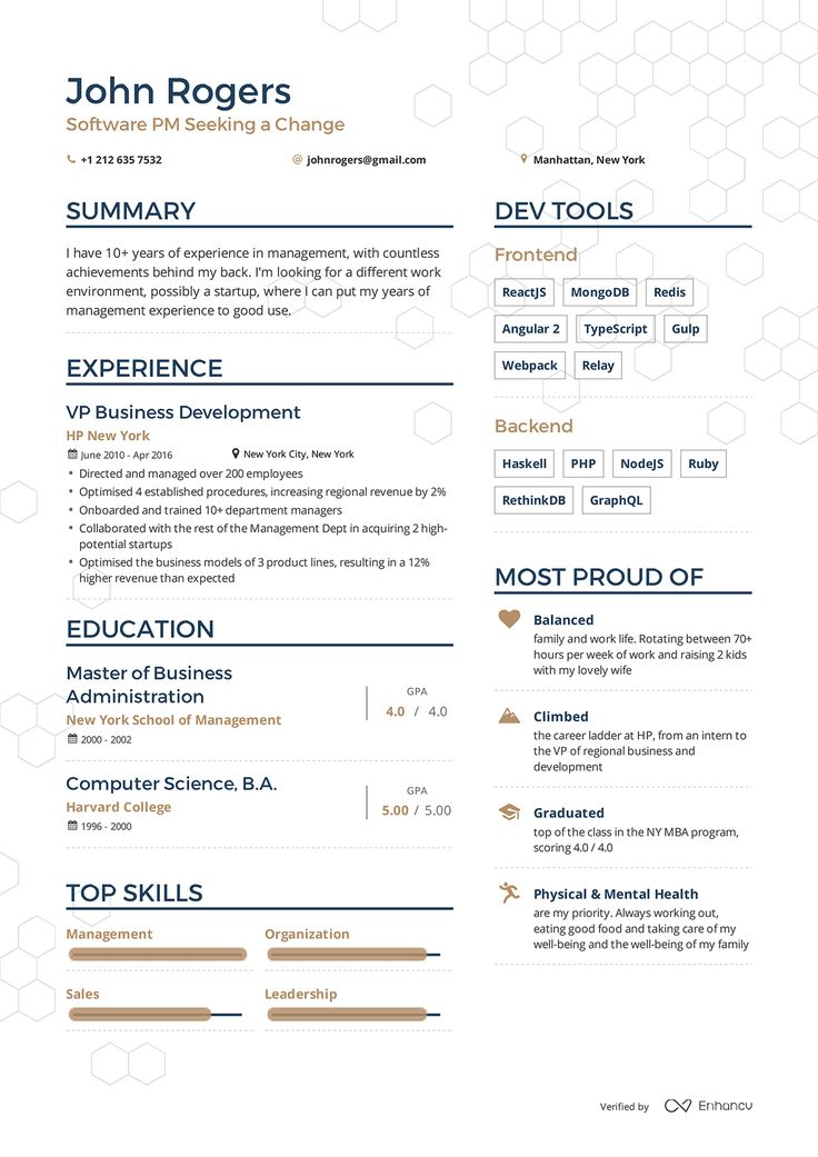 Examples Of A Cv Resume Cv Resume And Cover Letter Free Sample Cv And Resume Examples Of Resumes By Enhancv Sample Resumes Pinterest