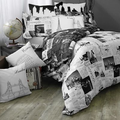 Passport London and Paris Reversible Comforter Set in Black/White - BedBathandBeyond.com