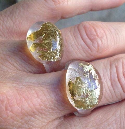 Glasringe mit Goldeinschlüssen. Unikate von dbeads / Mitglied Dagmar Brückner