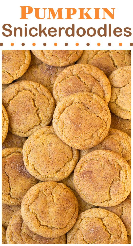Pumpkin Snickerdoodles - soft, chewy and completely delicious!! #cookies #pumpkincookies #snickerdoodles