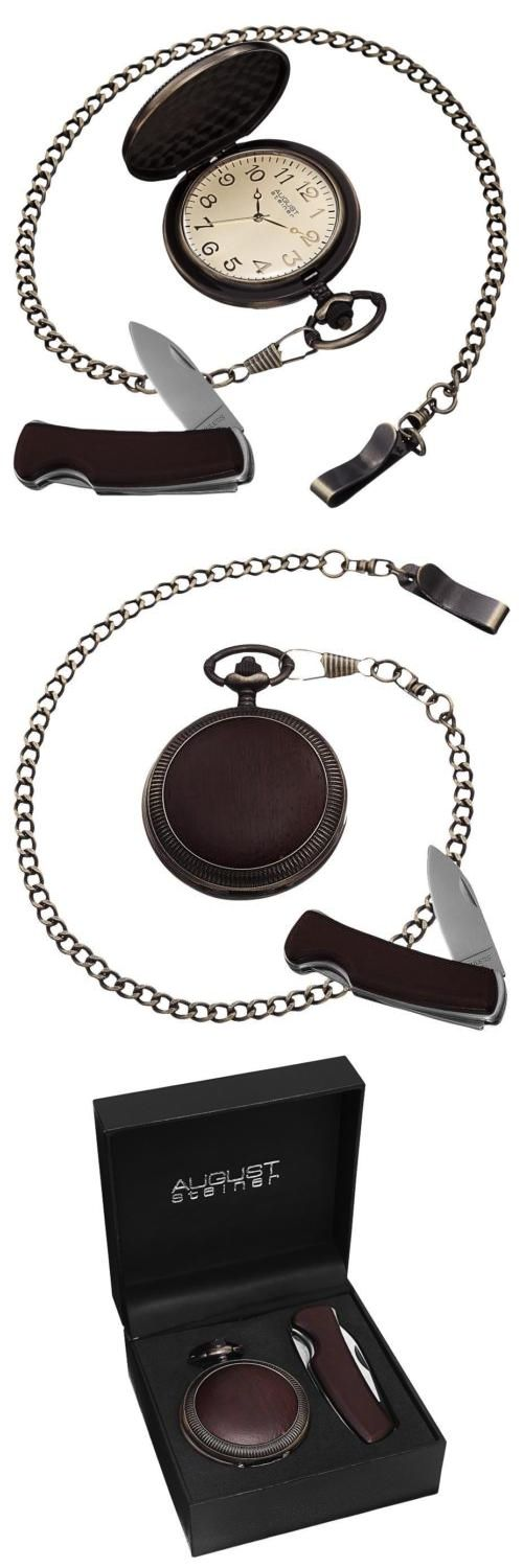 Modern 3938: August Steiner As8145br Antique Quartz Pocket Watch And Pocket Knife Gift Set BUY IT NOW ONLY: $72.99