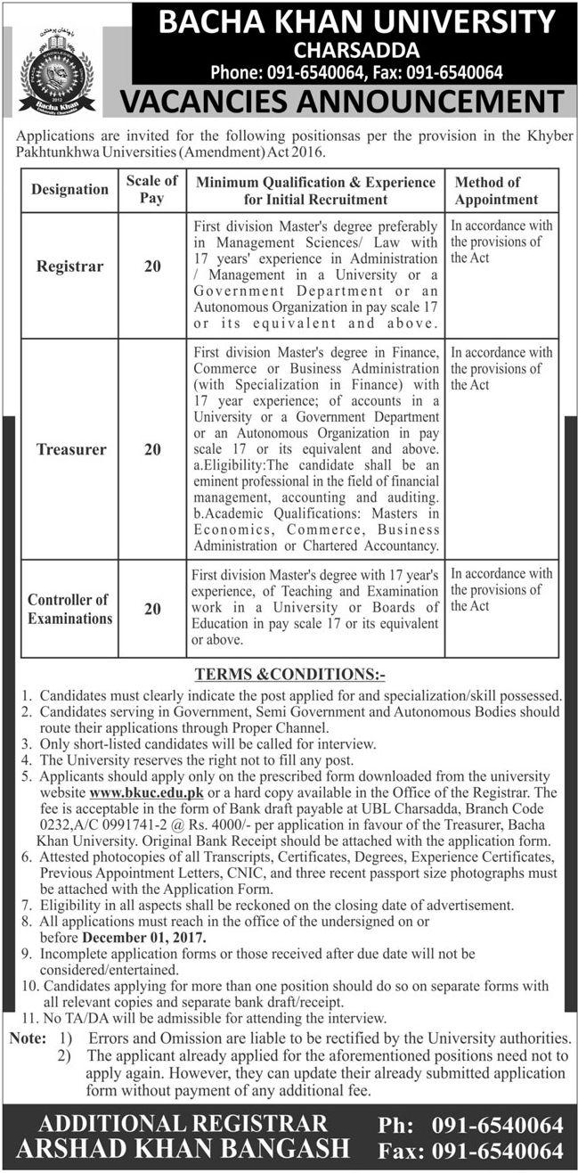 Bacha Khan University Jobs 2017 In Peshawar For Registrar And Exam Controller http://www.jobsfanda.com/bacha-khan-university-jobs-2017-peshawar-registrar-exam-controller/