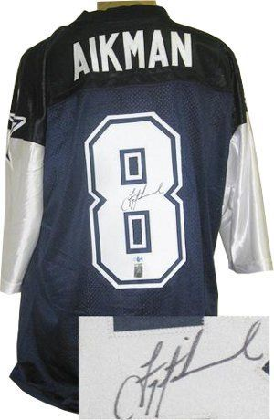Troy Aikman signed Dallas Cowboys Blue 2 Star Jersey- Aikman Hologram . $377.91. Troy Aikman was the No. 1 overall pick in the 1989 NFL Draft, by the Dallas Cowboys. In Super Bowl XXVII against the Buffalo Bills, Aikman led the Cowboys to a blowout victory, 52-17. Aikman was named Super Bowl MVP after completing 22-of-30 passes for 273 yards and 4 TDs. He also won SB XXVIII and SB XXX and was elected into the Pro Football Hall of Fame in 2006. Troy Aikman has hand autographed th...