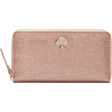 KATE SPADE Glitter Bug patent wallet (Rose gold