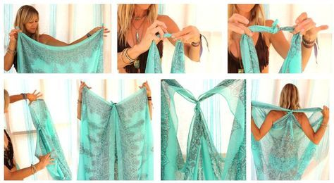 Make the perfect beach cover-up using a scarf you may already have hanging in your closet. #beachwear #DIY