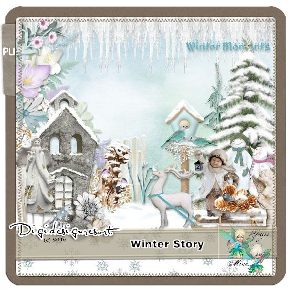 Winter Story is a lovely kit. It has been created with lovely soft winery colours and a pop of marshmallow mauve. There are beautiful wintery backgrounds with some patterned paper for fun. Winter Story has 5 plain cardstock papers that you can use to increase all the variations of your