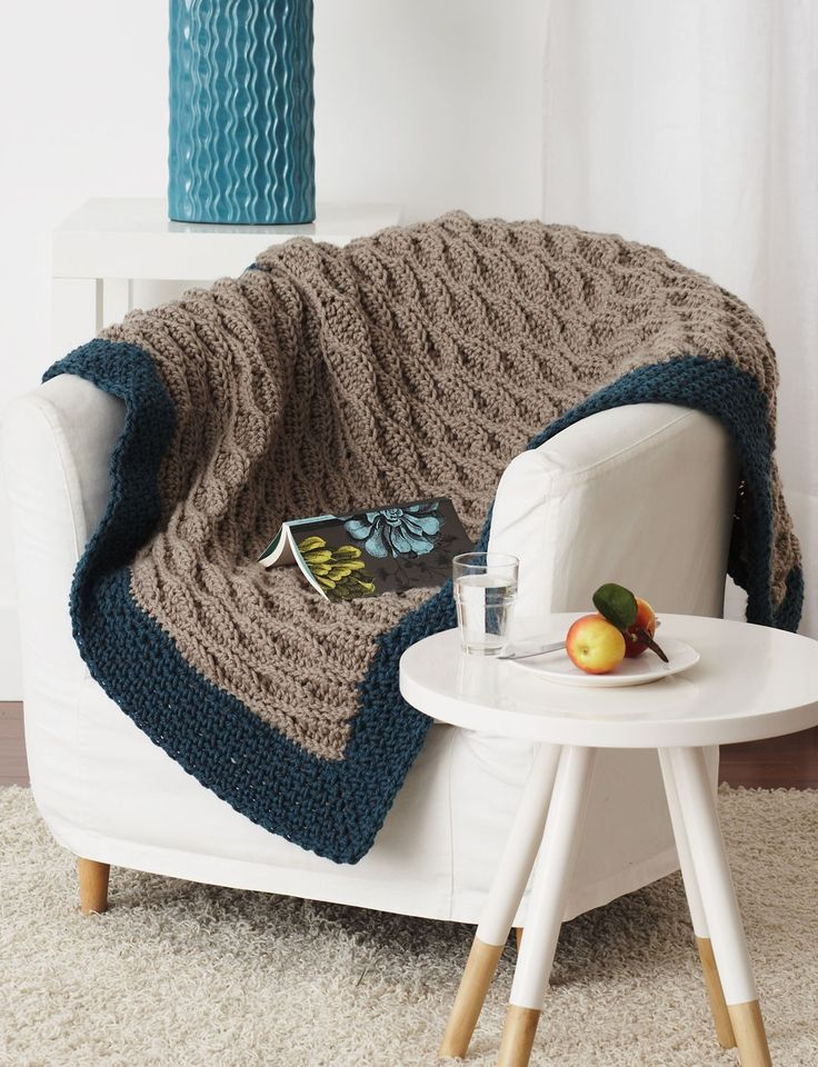 Quick & Easy Blanket ~ Crocheting into the back loops creates a beautiful and easy waved ridge pattern on this fantastic blanket
