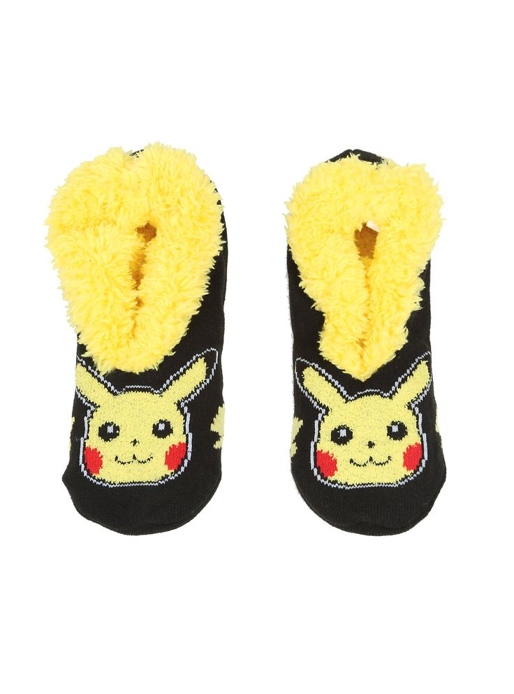 """Keep your feetsies comfy and warm in these super soft Pikachu slippers that feature a cozy yellow faux fur lining and non-slip rubber tread.<br><ul><li style=""""list-style-position: inside !important; list-style-type: disc !important"""">Shell: 80% acrylic; 19% polyester; 1% spandex</li><li style=""""list-style-position: inside !important; list-style-type: disc !important"""">Wash cold; dry low</li><li style=""""list-style-position: inside !important; list-style-type: disc…"""