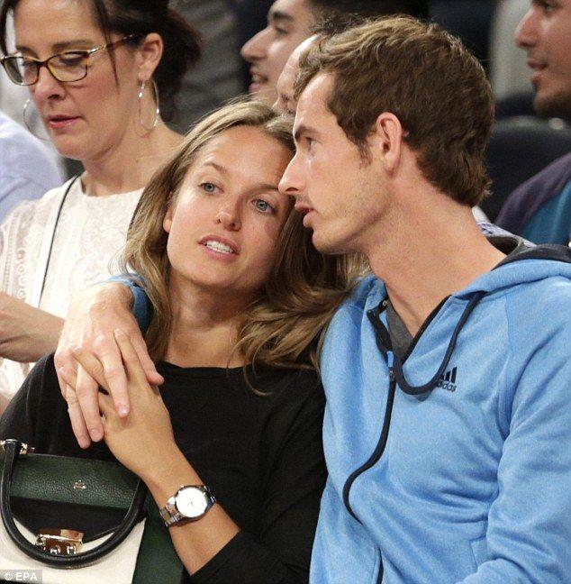 One love: Andy Murray hugged his girlfriend Kim Sears as the couple watched the USA take o...
