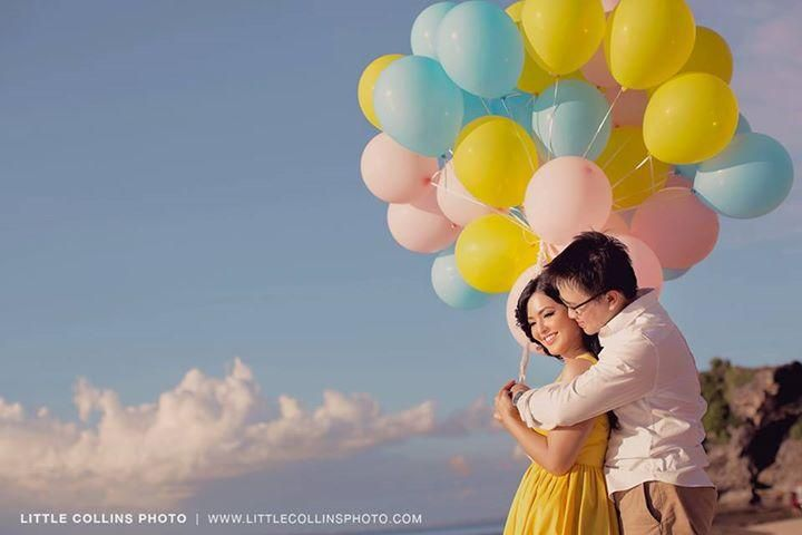 Pre-wedding photo with colorful balloons #Balloons