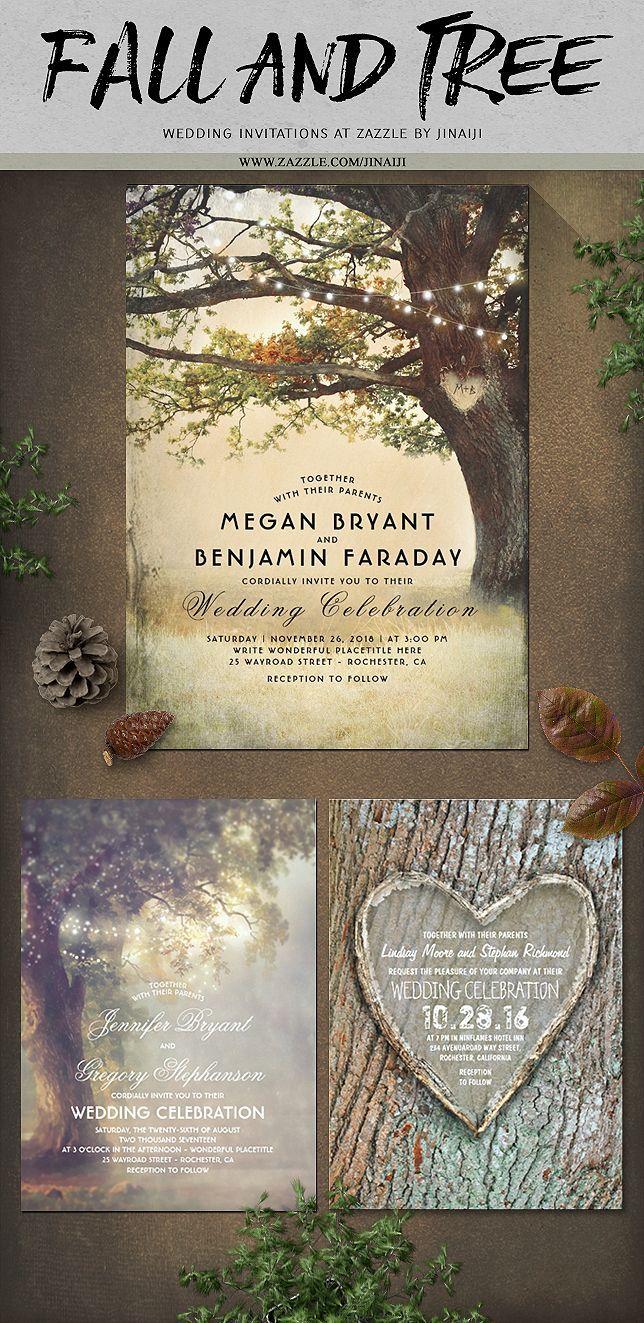 proper way to put names on wedding invitations%0A Fall Tree Rustic Wedding Invitation