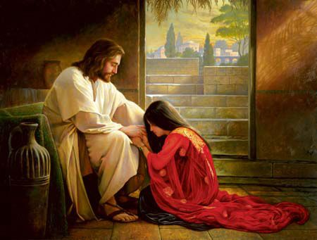 Though your sins be crimson red, oh repent, and He will forgive.