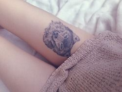 Wolf thigh tattoo...actually really like this.