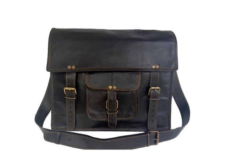 "Black Leather Briefcase 15"" from High On Leather"