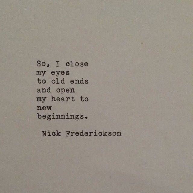 Time for new beginnings.