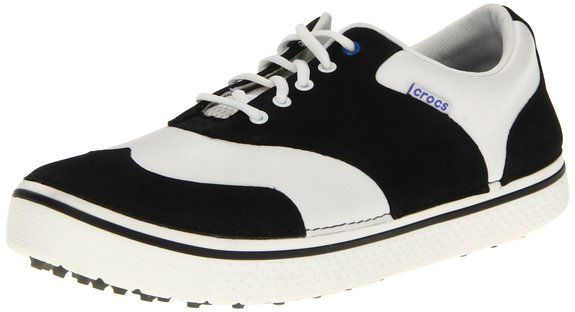 Made from leather these mens Preston golf shoes by Crocs feature a manmade sole and massaging insole