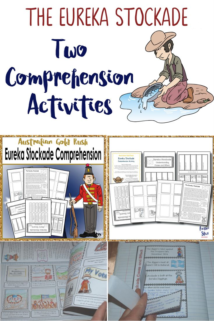 Year 5 Australian History – Gold Rush – Eureka Stockade. This fantastic resource contains two comprehension activities focusing on the Eureka Stockade. The first is a storyboard activity allowing students to sort and sequence events from the text into order and then create their own storyboard by drawing pictures to match the events. The second is a foldable activity featuring five events from the text for which students need to determine the cause and effect.