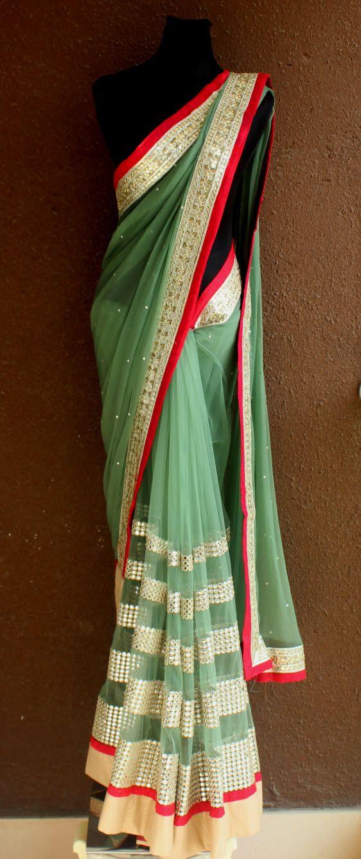 Moss Green net mirror work saree with swaroski highlight border #mossgreensaree #mirrorworkbordersari #netsaree #partywearsari