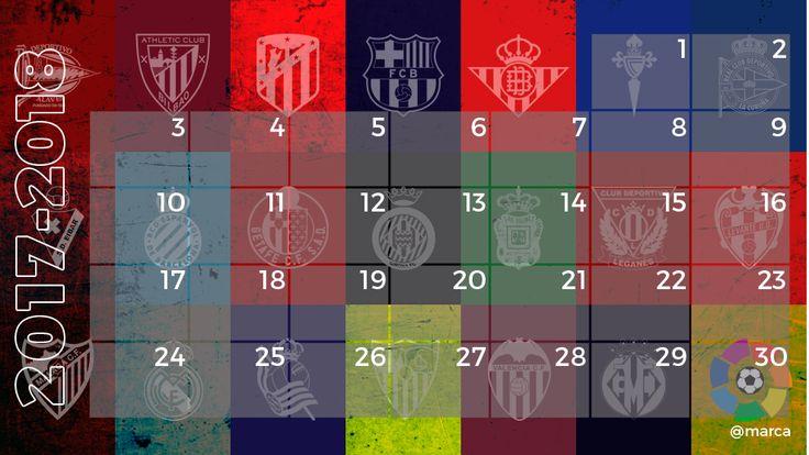Calendario de LaLiga Santander  2017-2018. Conoce todas las fechas y horarios de los partidos de Primera División en el calendario de MARCA.com