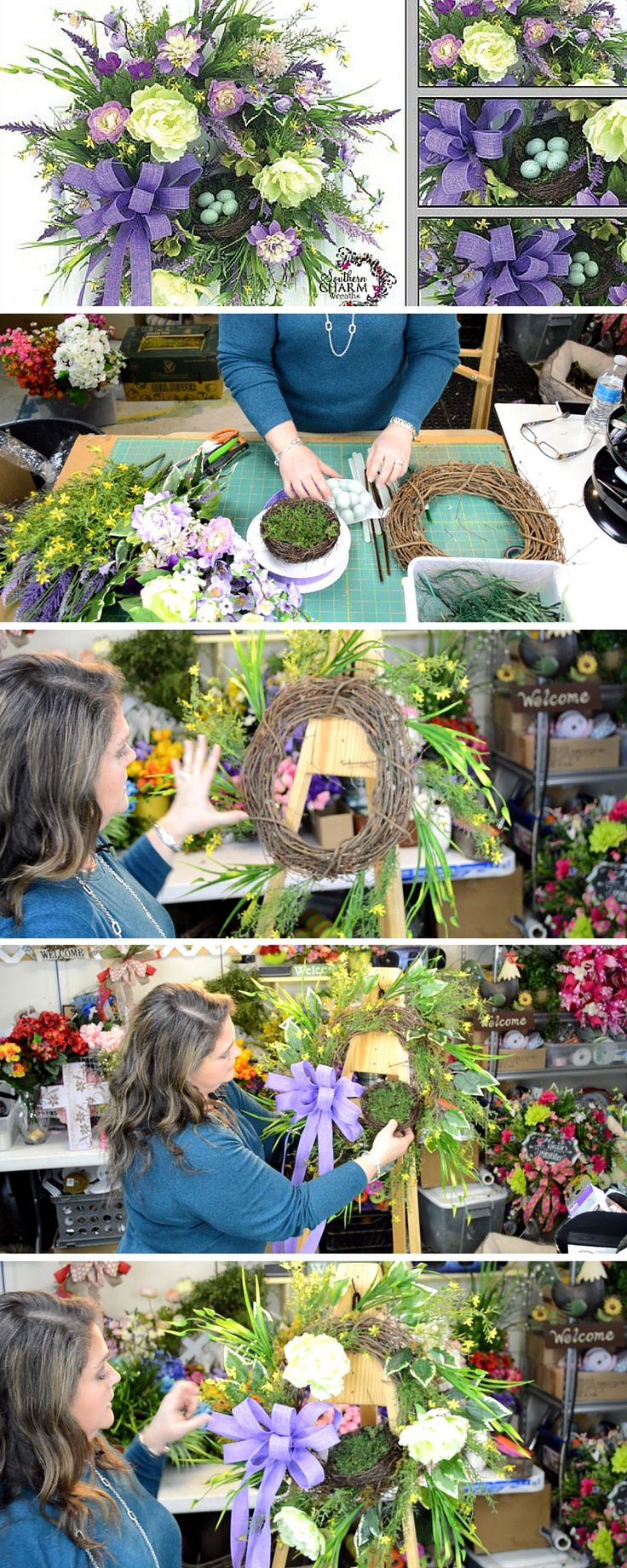 She teaches you the formula for creating a beautiful silk flower spring wreath.