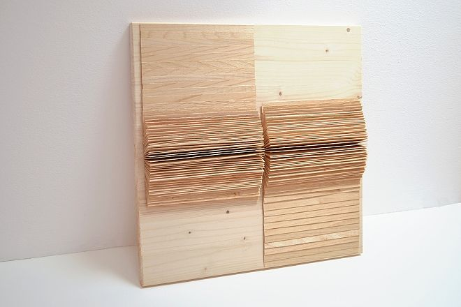 Eva Francová, Parcela 1605/2, wood, 40 x 40 x 5 cm, 2016
