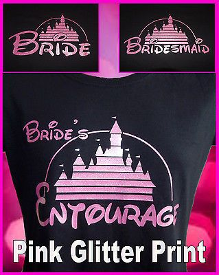Disney bride bridesmaid hen party night #black #fitted #tshirts pink glitter prin,  View more on the LINK: http://www.zeppy.io/product/gb/2/131773561256/