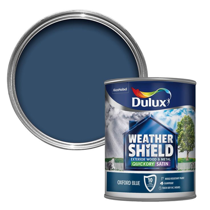 Dulux Weathershield Exterior Oxford Blue Satin Wood & Metal Paint 750ml | Departments | DIY at B&Q
