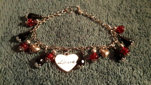 Black and red charm bracelet
