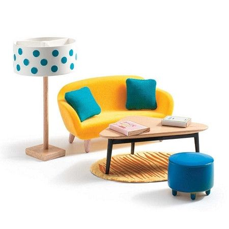This is simply stunning Living Room Furniture for our modern Petit Home Djeco Doll Houses. It includes velvet couch, cowhide rug, ottoman, lamp & more.