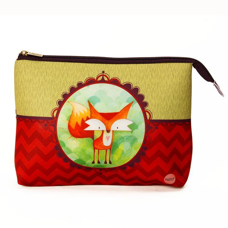 Trousse à Cosmétique Jumbo Renard KETTO Cosmetic Bag Jumbo Fox // Grande trousse en néoprène à fermeture éclair. // Big neoprene pouch with zipper closure. // #TrousseÀCosmétique #CosmeticBag #Ketto