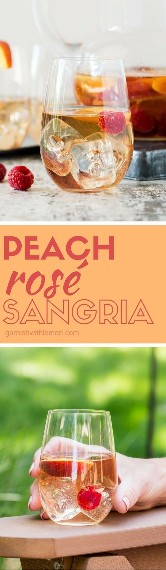 Rosé ALL Day! Sangria makes entertaining a breeze. Make a batch of this Peach Raspberry Sangria for your next party! #sangria #peach #rosé #batchcocktails
