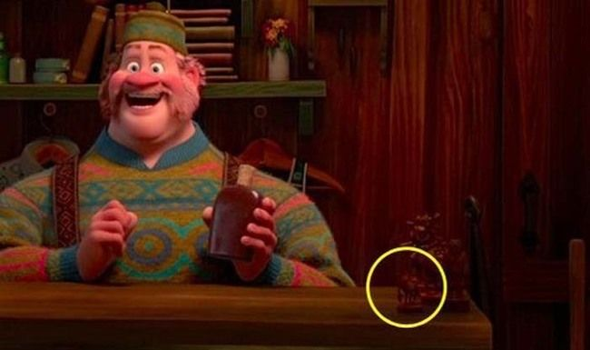 4.) Mike Wazowski from Monsters, Inc. appears as a small figure in Frozen.