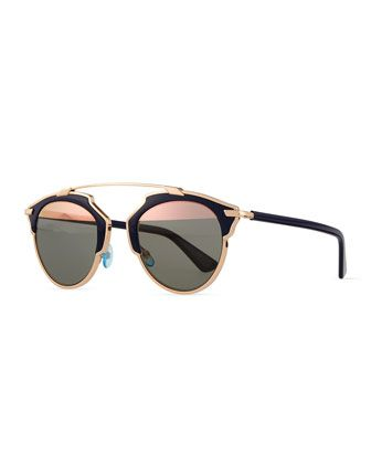 So+Real+Brow+Bar+Sunglasses,+Dark+Blue+by+Dior+at+Neiman+Marcus.